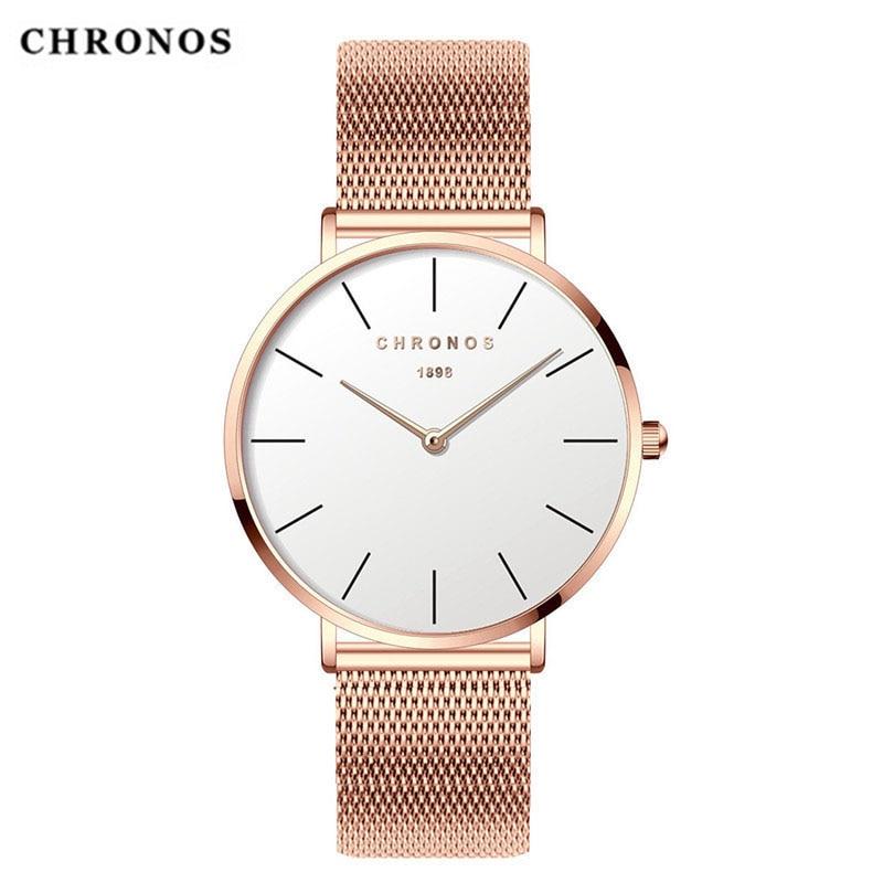 CHRONOS los hombres y las mujeres mira una Simple esfera Unisex de moda, vestido Casual de cuarzo de acero inoxidable de malla de reloj de plata reloj Relogio femenino