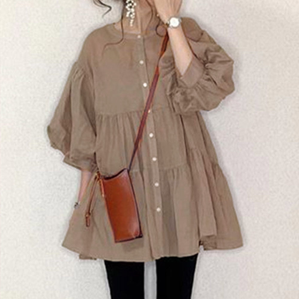 Thin Ruffles Blouse For Women Button A Line Korea Japanese Style Puff Sleeve Tops Female Oversized S