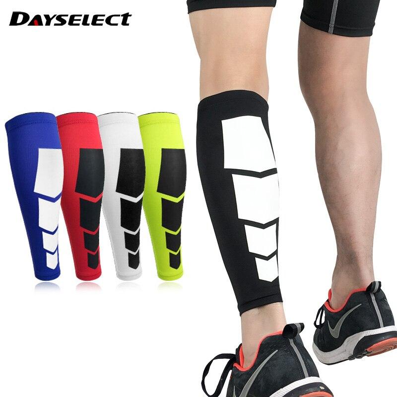 Compresión correr espinillera mangas de pierna ciclismo hombres mujeres pierna Brace fútbol deportes pantorrilla soporte Protector