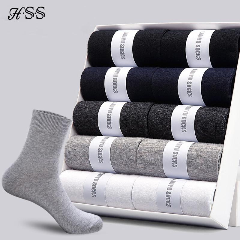 HSS 2020 Men's Cotton Socks New styles 10 Pairs / Lot Black Business Men Socks Breathable Spring Summer for Male US size(6.5-12)