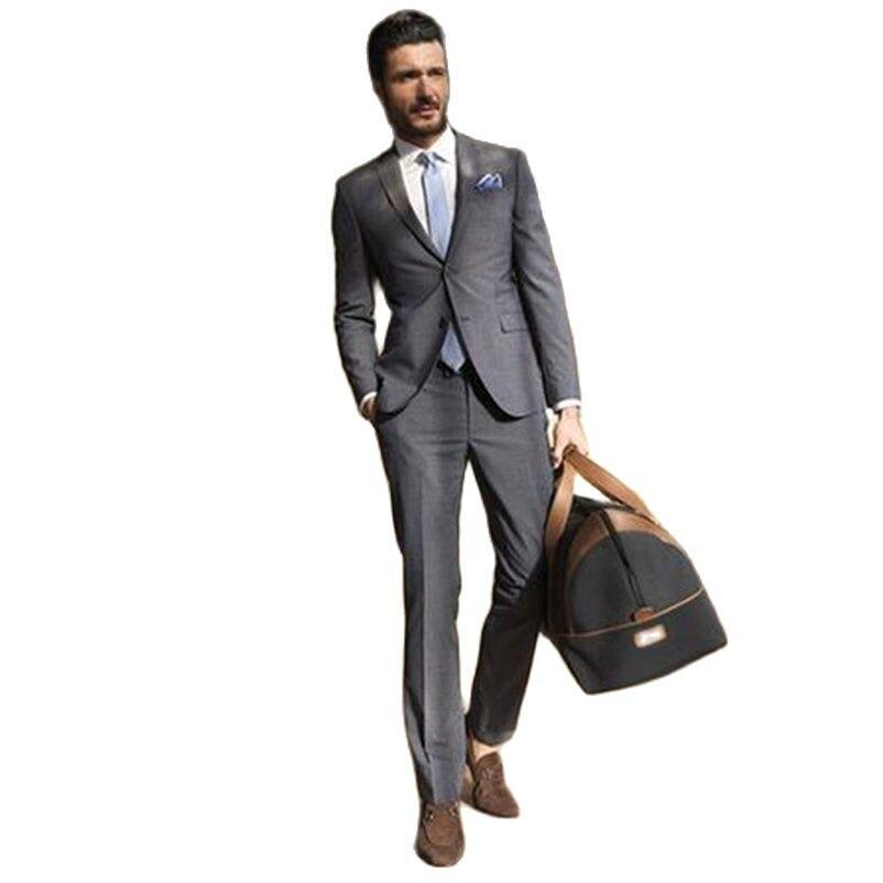 Приталенный Серый Свадебный костюм, смокинг жениха, костюм жениха, мужской костюм на заказ, официальная одежда, на заказ (пиджак + брюки)