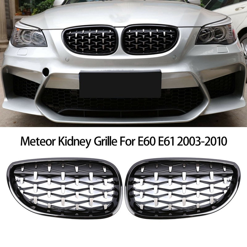 1 pair new design f90 m5 diamonds grille grill meteor style abs gloss black fits for bmw m5 look f90 front kidney grills 2019 in Front Bumper Kidney Grill Diamond Grille for BMW E60 E61 5Series 550I 535I M5 2003-2010 Meteor