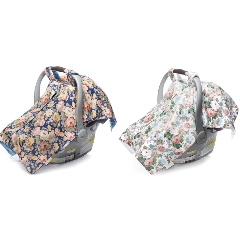 Infant Car Seat Canopy and Nursing Cover Up with Peekaboo Opening - Numerous Flowers Pattern