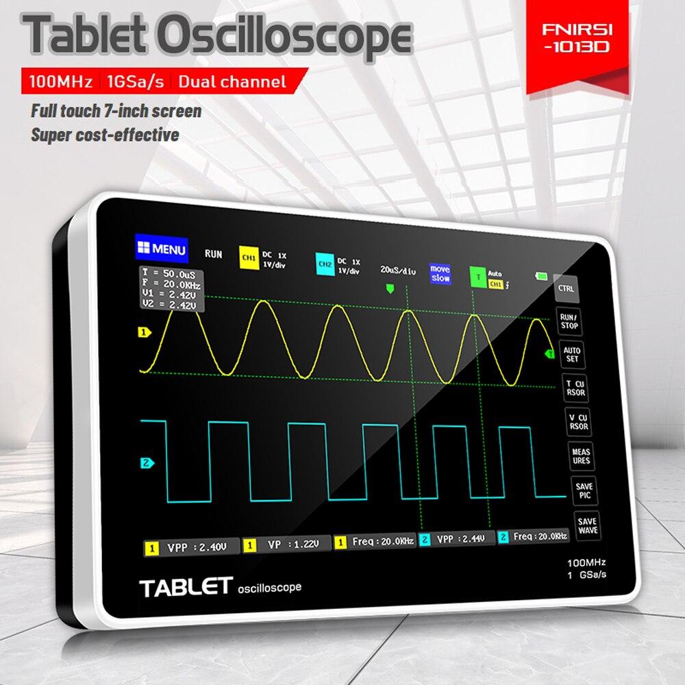 1013D 2 قنوات 100MHz * 2 عرض النطاق 1GSa/s معدل أخذ العينات راسم الذبذبات مع 7 بوصة لون TFT عالية الوضوح LCD لمس الشاشة