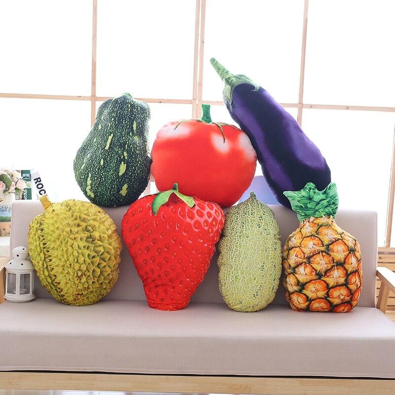 Frutas lifelike brinquedo de pelúcia coisas travesseiro de frutas morango abacaxi durian hami melão berinjela decorativo brinquedo lance travesseiro