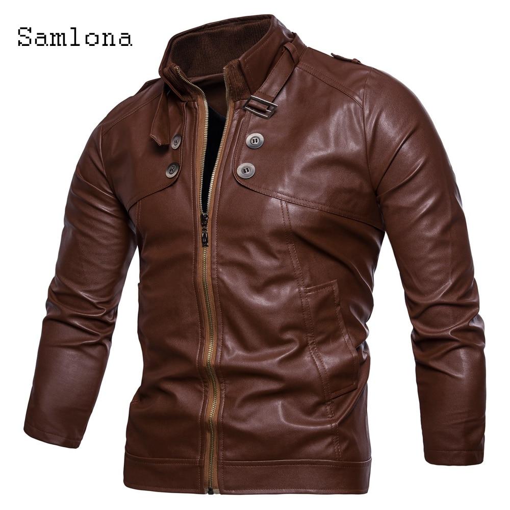 Модные мужские Куртки из искусственной кожи, мотоциклетная куртка, байкерские пальто из искусственной кожи на молнии, осень 2020, мужская вер...