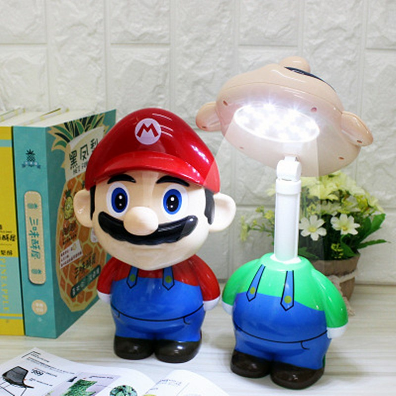 Super Mario Bros figura de dibujos animados modelo LED recargable lámpara de noche luces de mesa lámpara de noche para niños iluminación regalos