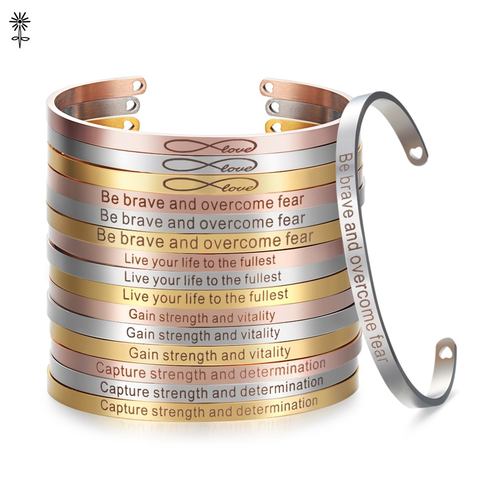 4mm Gold color Stainless Steel Bangles Positive Inspirational Bracelet Engraved Quotes Mantra Bracelet & Cuff Bangle for Women dreams come true letters engraved bangle be yourself metal lettering fashion hope faith cuff bracelet women best gifts
