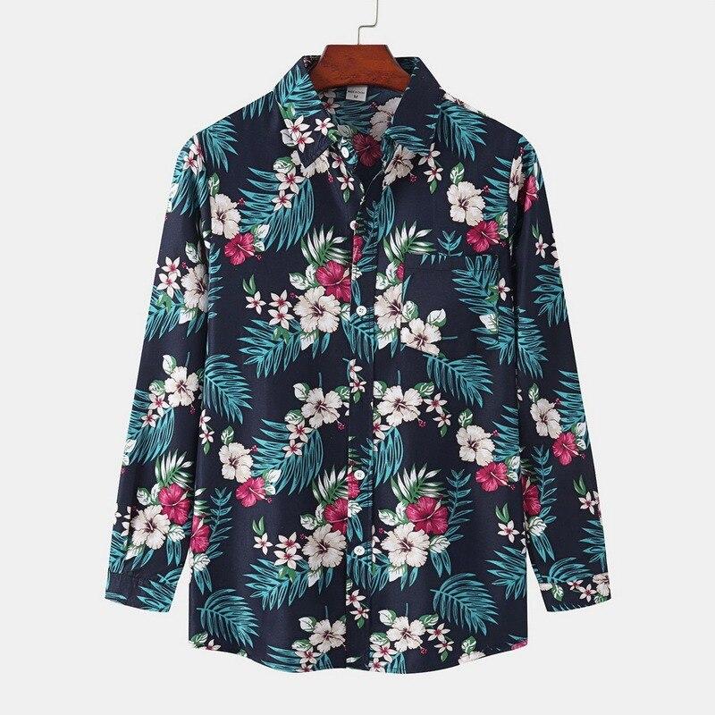 Мужская рубашка с длинным рукавом, Повседневная Свободная блузка с принтом, винтажная пляжная рубашка, рубашка с длинным рукавом, Повседнев...