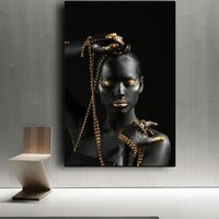 african black woman holding golden jewelry canvas paintings on the wall art posters and prints girl body art pictures wall decor