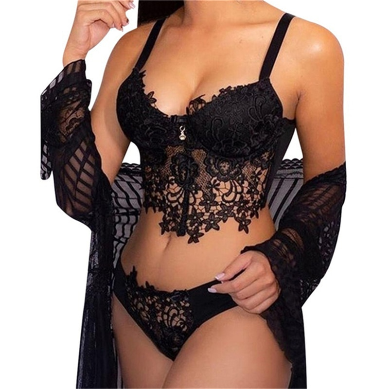 Sexy Lingerie Set Women Transparent Lace Babydoll Open Bra Set Floral G-String Underwear Set Nightwear Bra And Panty Sets