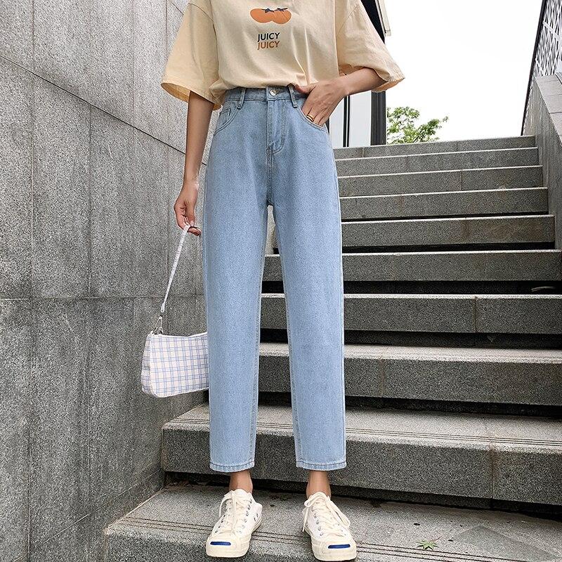 262 # pantalones vaqueros vestidos acampanados sólidos Harajuku de ocio femenino