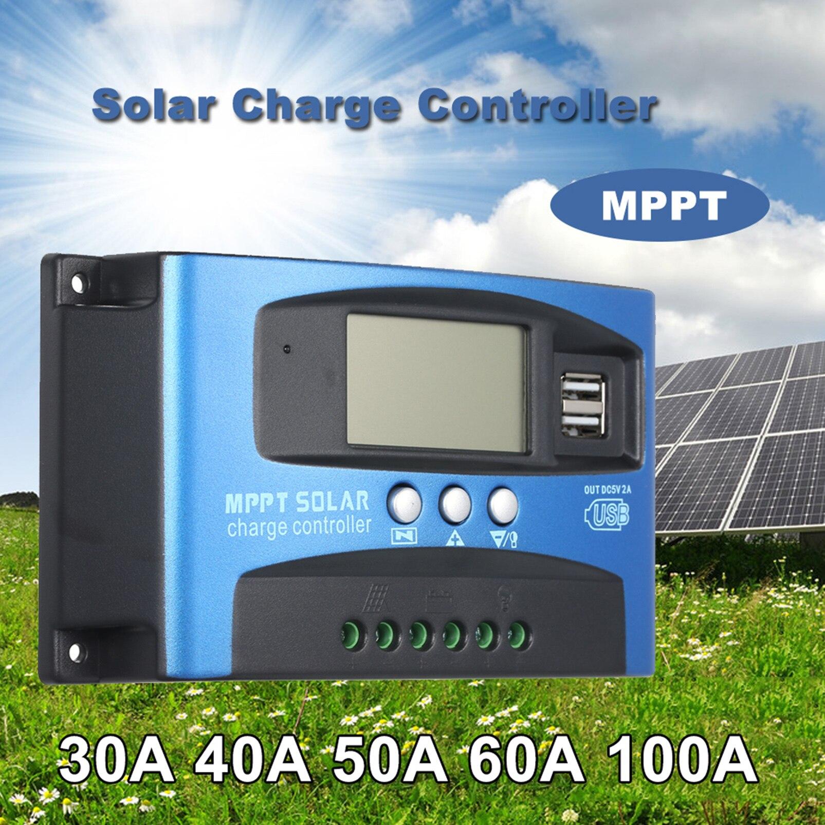 30/40/50/60/100A MPPT الشمسية جهاز التحكم في الشحن المزدوج USB شاشة الكريستال السائل السيارات ألواح خلايا شمسية شاحن منظم تحميل مفرغ