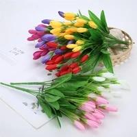 21 heads tulip artificial flower silk lavender tulips bouquet fake flower for wedding decoration flowers home garen decor