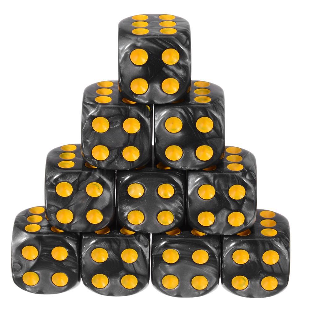 Offre spéciale 10 pièces 6 côtés dés 16mm dés colorés coin rond perle gemme dés ensemble jeu de jeux de Table divertissement