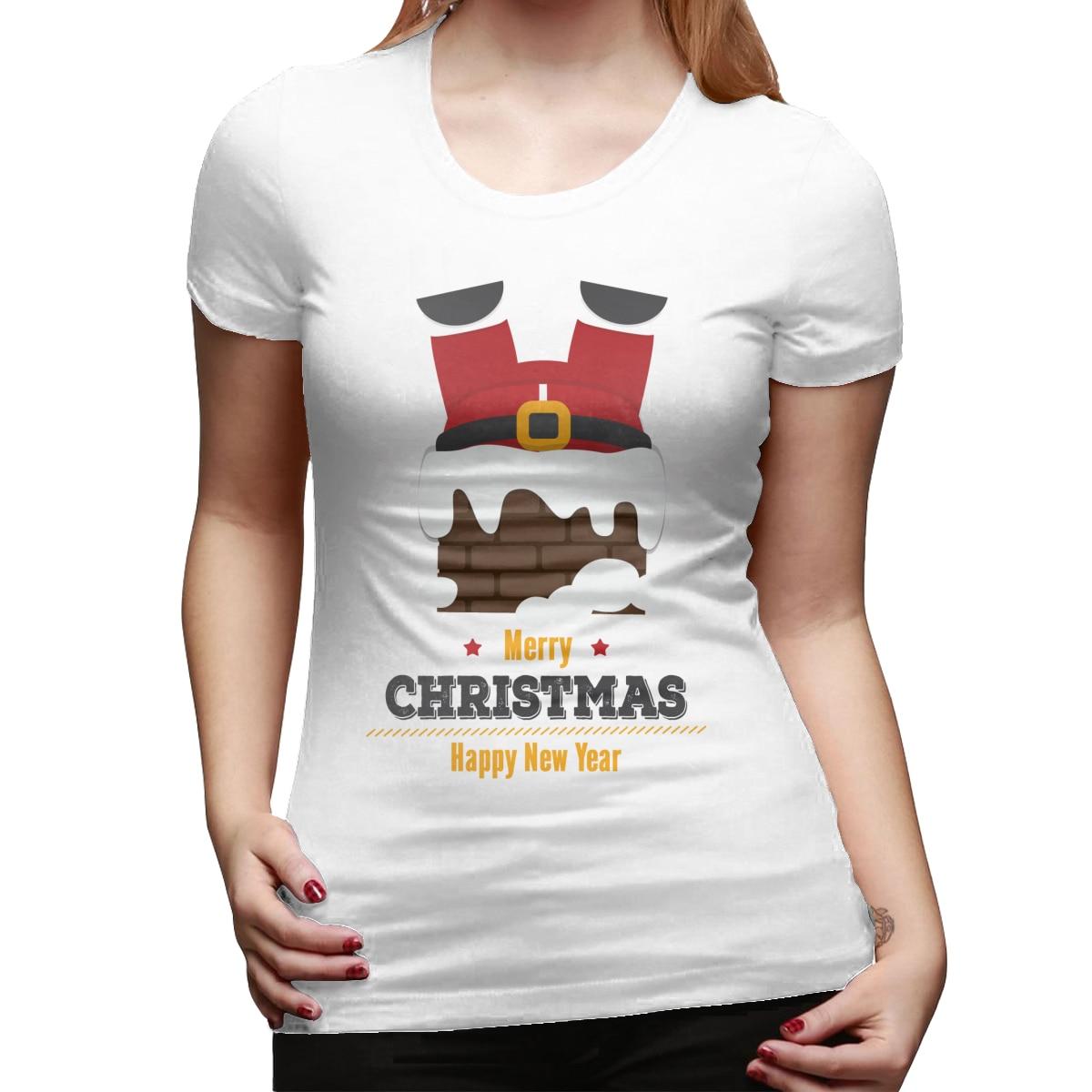 Navidad chimenea estampado de Papá Noel camiseta de verano de las mujeres de manga corta de ocio Top Tee Casual señoras mujer Camisetas Mujer ropa