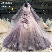 htl1089 shiny purple evening dress long o neck sleeveless special occasion dress vestido de fiesta largos de noche elegante 2020