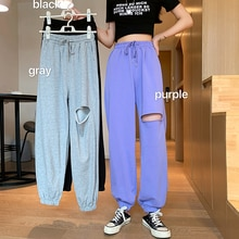Thin Ripped Gray Sports Pants Female Spring/Summer 2021 New High Waist Street Ins Fashion Loose Ankl