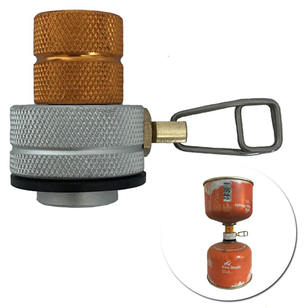 Adaptador de recarga gás fogão convertor portátil reutilizável canister conector liga alumínio ao ar livre acampamento caminhadas butano propano