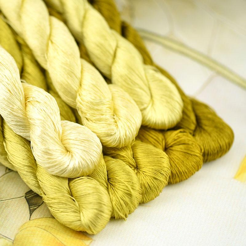 1 Uds./400m hilo de seda bordado/100% hilo de seda/bordado a mano punto de cruz/amarillo Lichen/8 colores puros