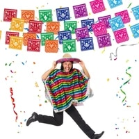 fiesta party decorations mexican party supplies colorful alpaca cactus cake topper banner hanging swirls backdrop birthday decor
