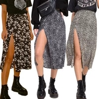 women summer split leopard skirts 2020 black fashion long skirt sexy woman floral loose lady clothes green flower skirts fall