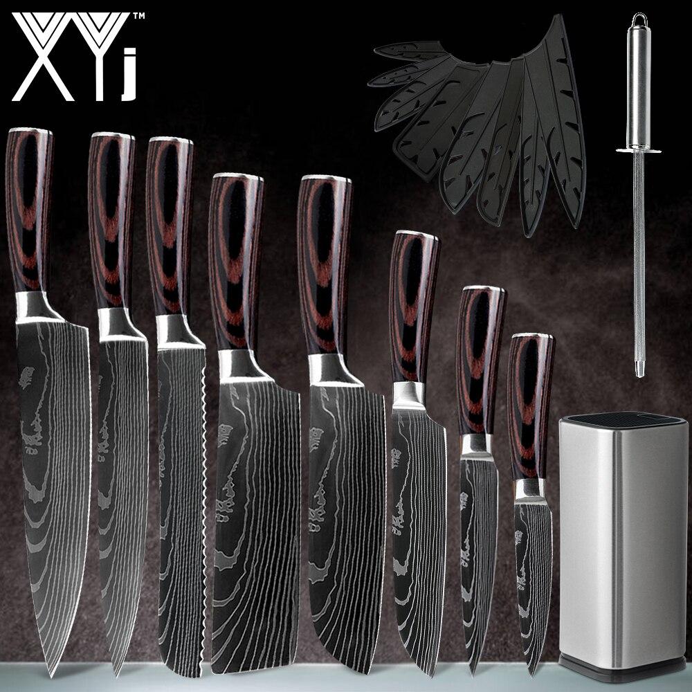 """XYj, 8 Uds., conjunto de cuchillos de acero inoxidable de Juego de Cuchillos de Cocina japonés con patrón de damasco de 8 """"7"""" 5 """"3,5"""", hoja afilada, utensilios de cocina"""