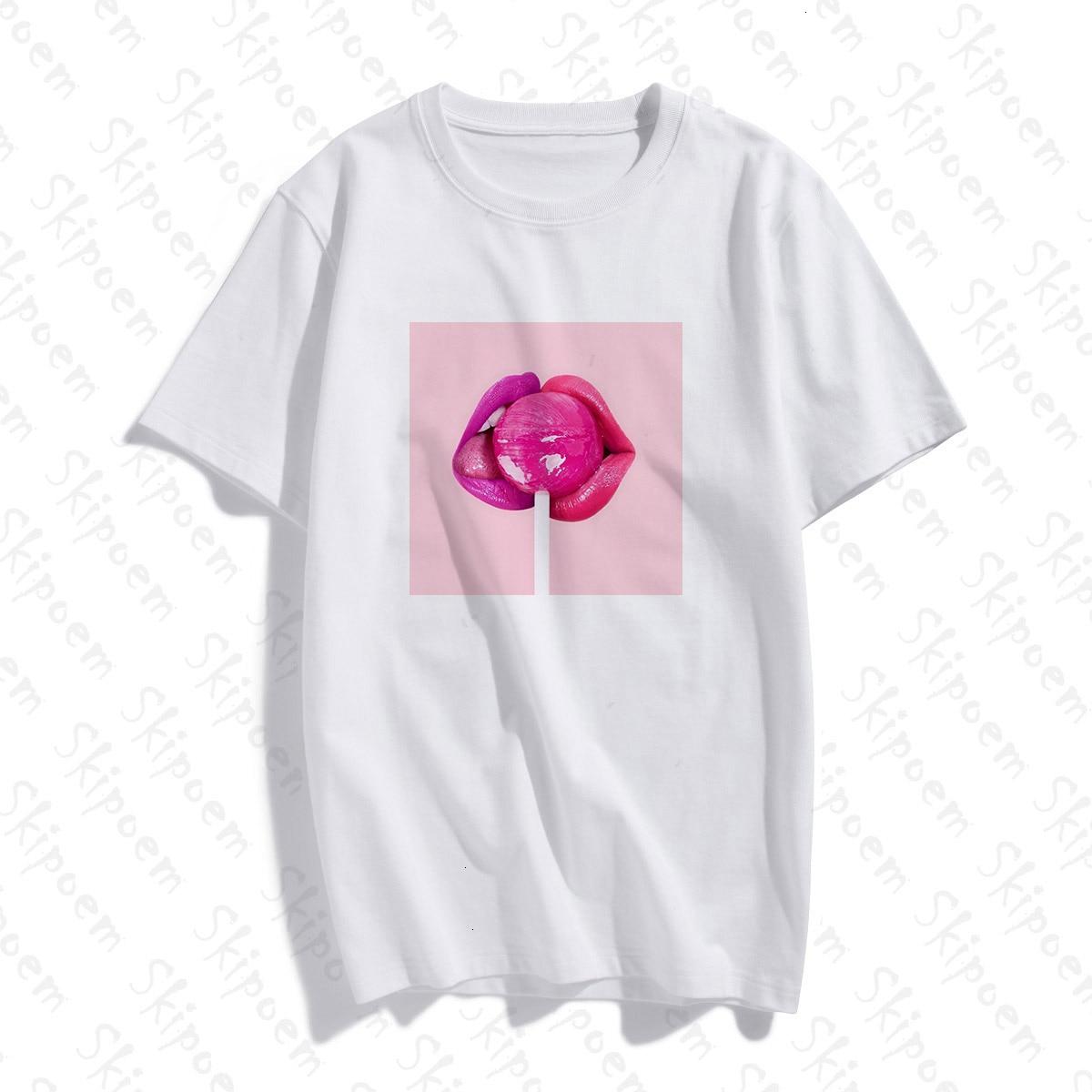 Camiseta Sexy de piruleta con labios rosados estilo coreano Tumblr Punk Harajuku de algodón de manga corta de talla grande camiseta de mujer