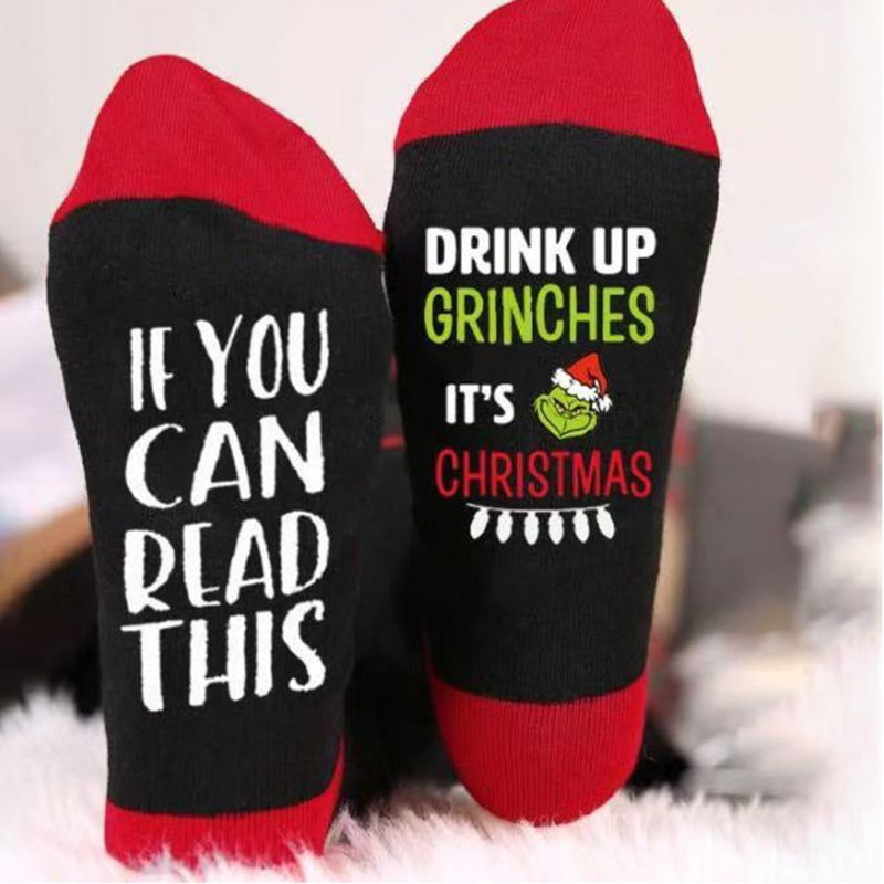 Women Men Novelty Christmas Crew Socks Funny Words If You Can Read This Drink Up Grinches Casual Cotton Tube Hosiery Xmas Gift