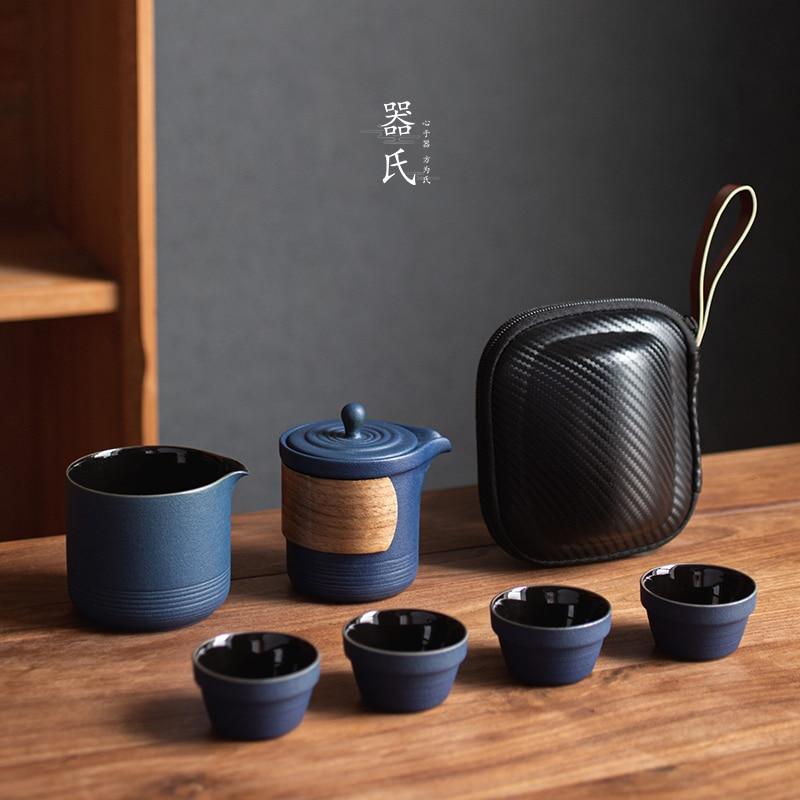 Travel Ceramic Tea Set Chinese Handmade Vintage Porcelain Teapot Set Portable Outdoor Tea Cup Set Kubek Teaware Sets Gift DA60CJ