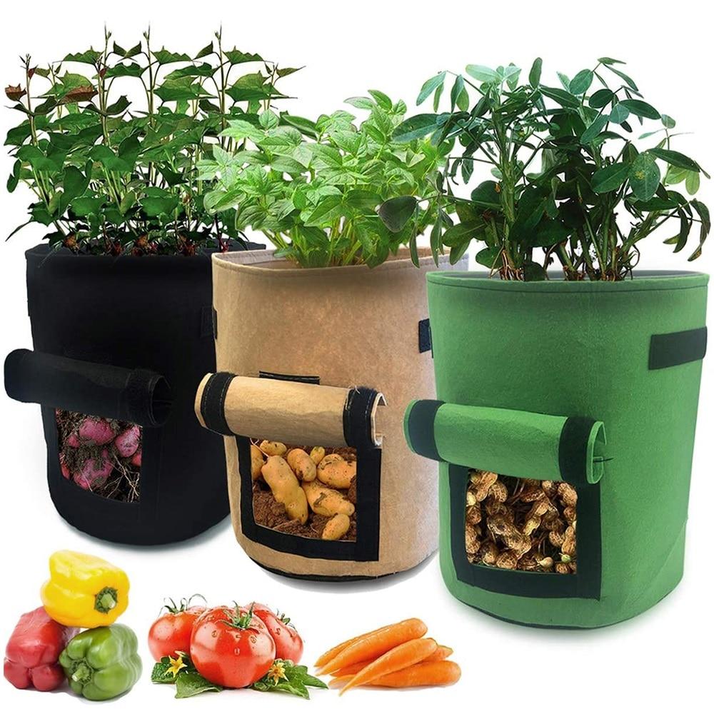 Bolsa de cultivo de patatas de 10/7 galones bolsa de cultivo de plantas de jardín de fácil cosecha bolsa de patatas de tela transpirable con ventana de Velcro