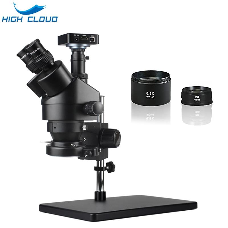 7X-45X ثلاثي العينيات مجهر ستيريو سيمول البؤري HDMI HD VGA1080P كاميرا رقمية الهاتف PCB لحام إصلاح مختبر الصناعية