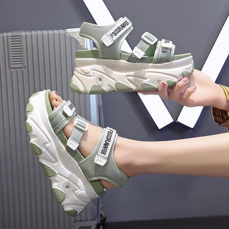 2020 frauen Chunky Sandalen Designer Casual Schuhe Sport 9cm High Heels Keil Sandale Marke Mode Concise Plattform Sandale Frau