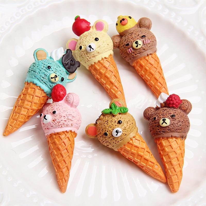 2 uds casa de muñecas re-ment Comida en miniatura resina de dibujos animados helado comida de imitación para Blyth Bjd Barbies muñeca accesorios Juguetes
