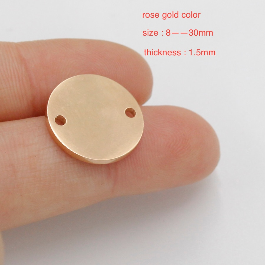 50 Uds 8-30mm Color oro rosa espejo pulido acero inoxidable redondo conector colgantes 2 agujeros de estampado en blanco para etiqueta DIY