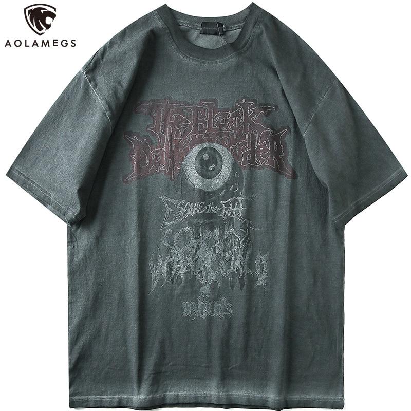 Camiseta Aolamegs para hombre Vintage agobiado camiseta para hombre estampada cuello redondo Camiseta Hip Hop estilo Rock Hipster Casual Streetwear verano