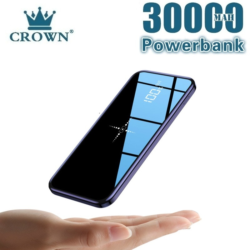 Power Bank 30000mAh Wireless External Portable Powerbank Full Screen Mirror Fast Charging Multi Port