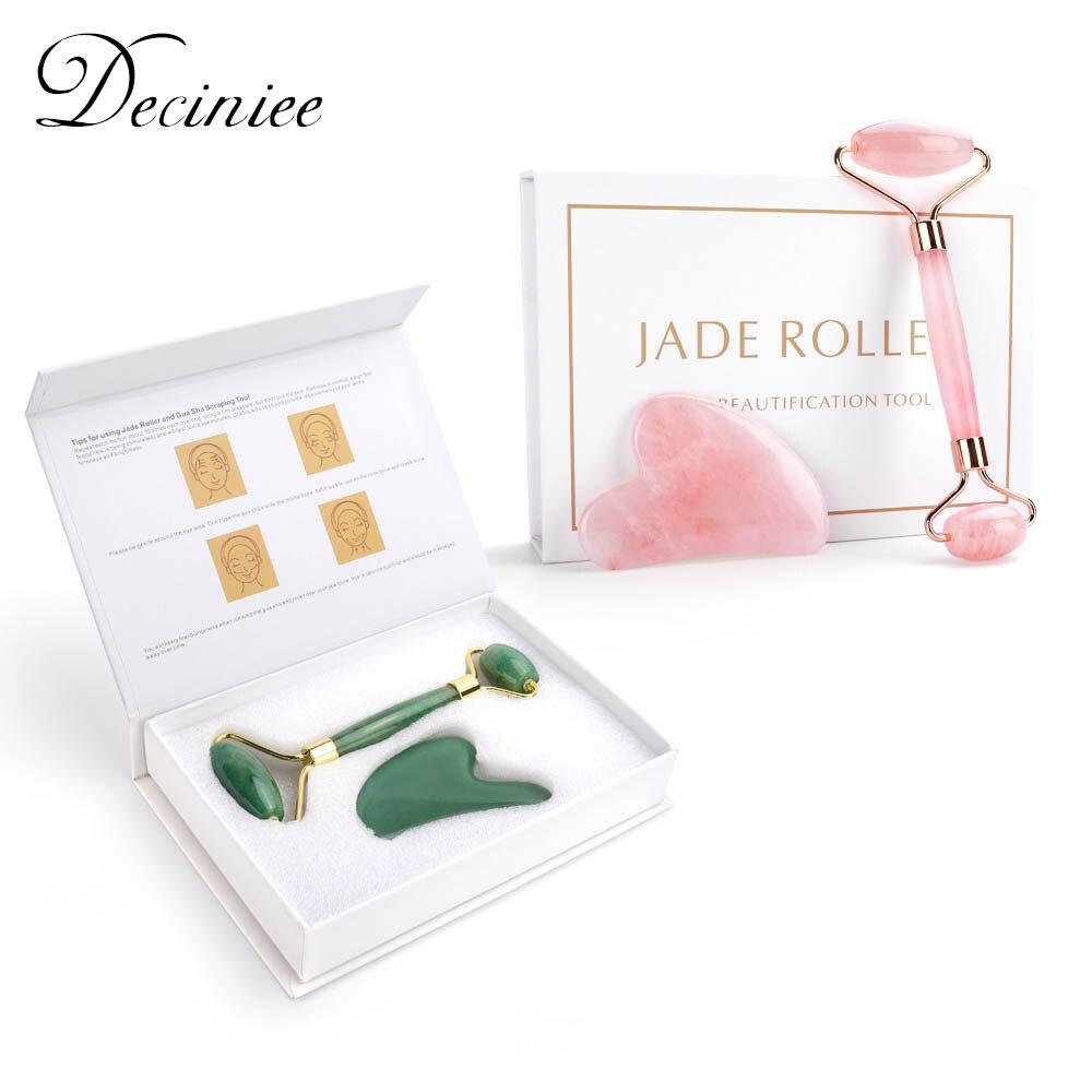 Natural Rose Quartz Jade Roller Facial Body Massager Roller Jade Stone Gua Sha Board Scraper Face Lifting Beauty Massage Tool