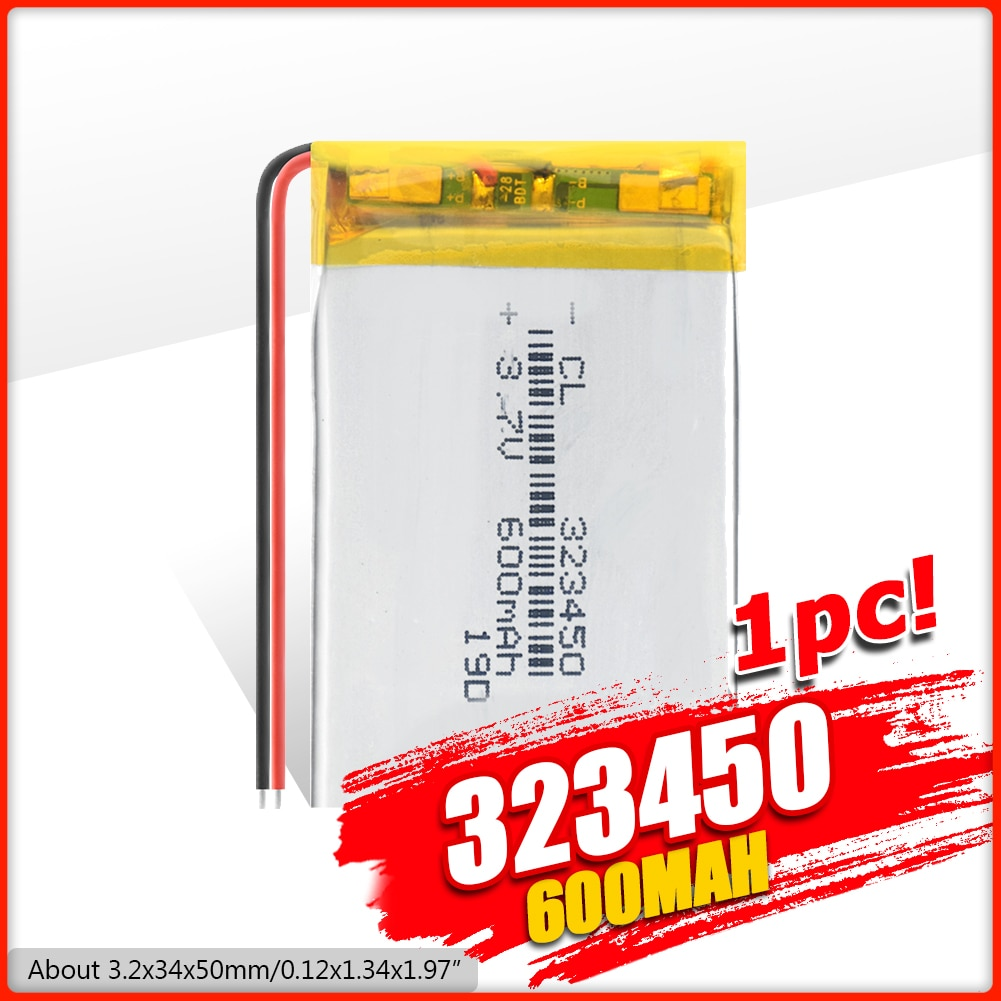 1/2/4 шт. 323450 3,7 в 600 мАч литий-полимерный аккумулятор 3 7 Вольт li-po литий-ионный заряжаемые аккумуляторы lipo для dvd gps навигации