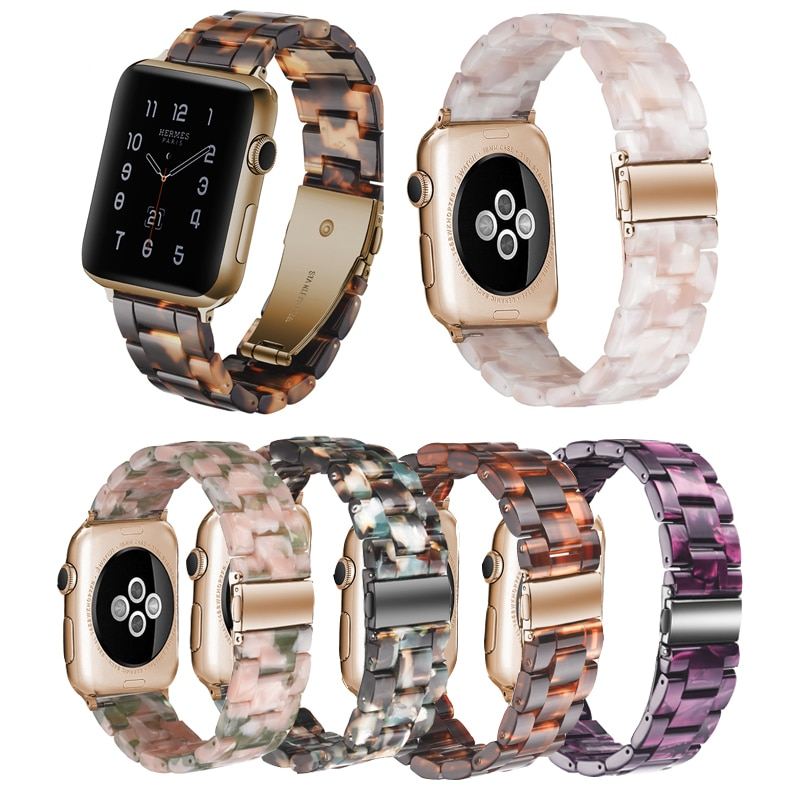 Correa de resina para Apple watch 5, 4, 3, 2, 1, para iwatch, banda de 42mm, 38mm, 44mm, 40mm, accesorios para pulsera
