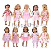 happy elfin newest design pink springsummer clothes and dress baby born clothes fit 43 cm 18 inch doll clothes best selling