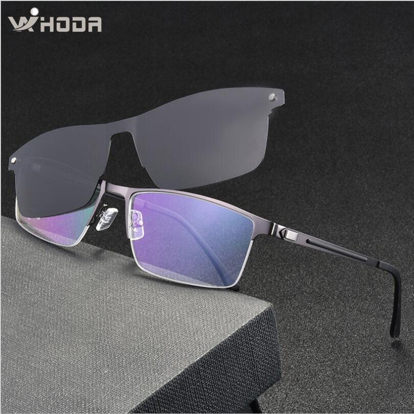 Clips magnéticos de aleación de titanio Retro para hombre gafas de sol polarizadas, monturas de gafas de negocios para hombre, gafas de prescripción de Metal
