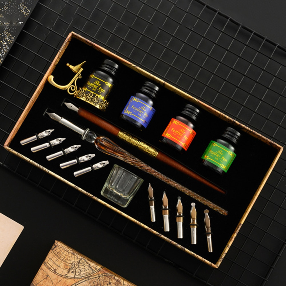 Unique Dip Pen Sets Fountain Set Star Starry Sky Glass Writing Student English Ink Calligraphy Pen Stationery Gift