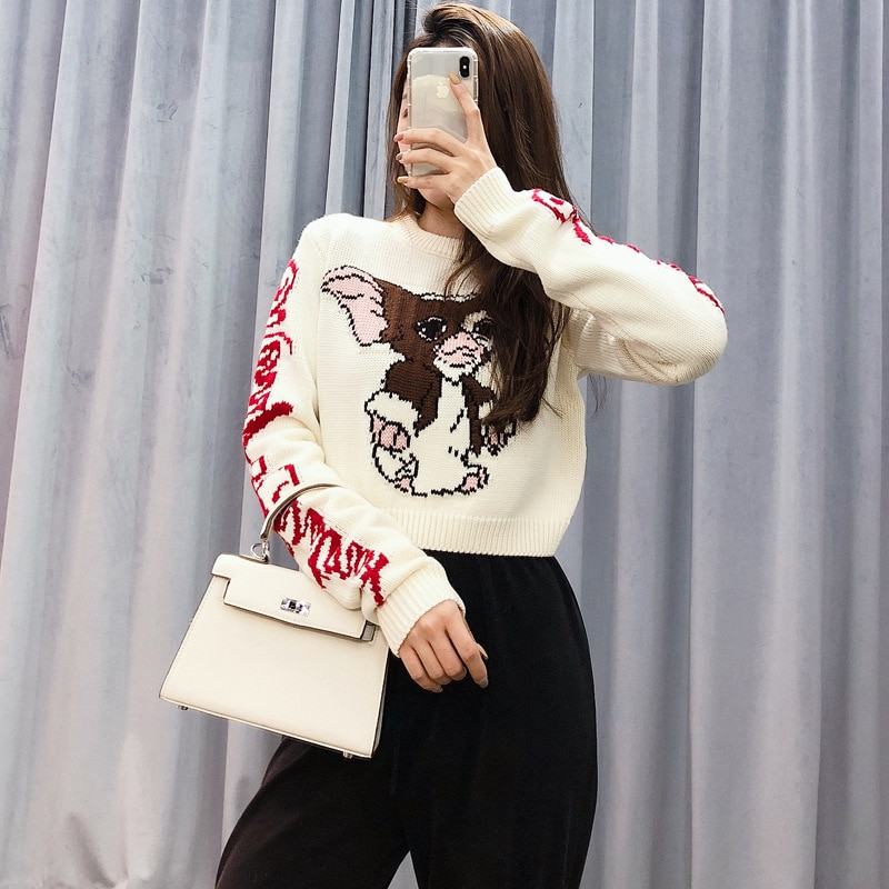 2021 Autumn And Winter Boutique Letters Cartoon Printing Fashion Short Wool Knitted Sweater Lazy Style enlarge