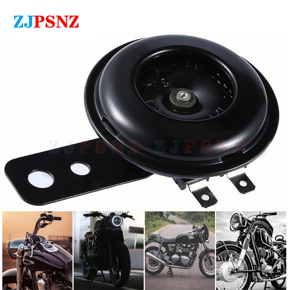 1pcs motorcycle horn moto trumpet 12v black loud 110db moped dirt bike electric vehicle scooter air horns motorbike classic horn 12V 48V 60V 72V 110dB Electric Horn Round Loud Waterproof E-bike Motorcycle Horn kits For Scooter Moped Dirt Bike Universal