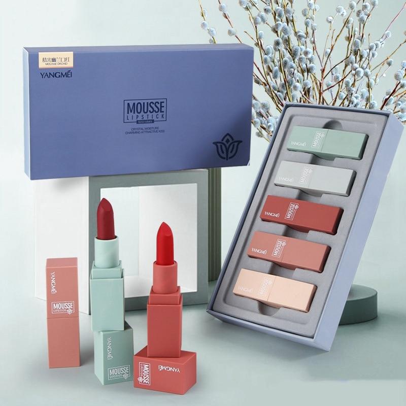 Hot 5pcsMatte Velvet Lipstick Set Long-lasting Non-stick Cup Lipstick Kit Lip Makeup Lipstick Wholesale Best Gift For Girlfriend