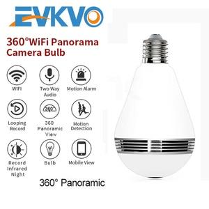 EVKVO 360 Panoramic 1080 IP Camera Wifi Camera Bulb Wireless Cameras Lamp Home Security CCTV Network Night Version Two Way Audio