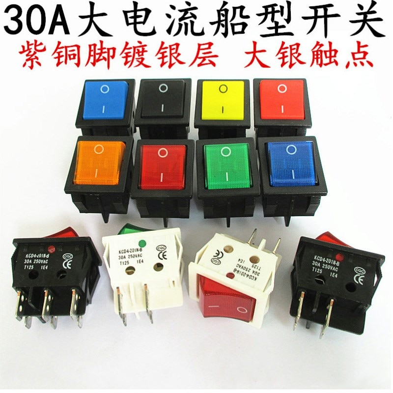 10pcs KCD4 Rocker Switch ON-OFF 2 Position 4 Pins / 6 Pins Electrical equipment With Light Power Swi