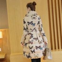 coats jackets fashion new winter coat medium long jacket plus size butterfly printed warm jacket female parkas thicken yxr335