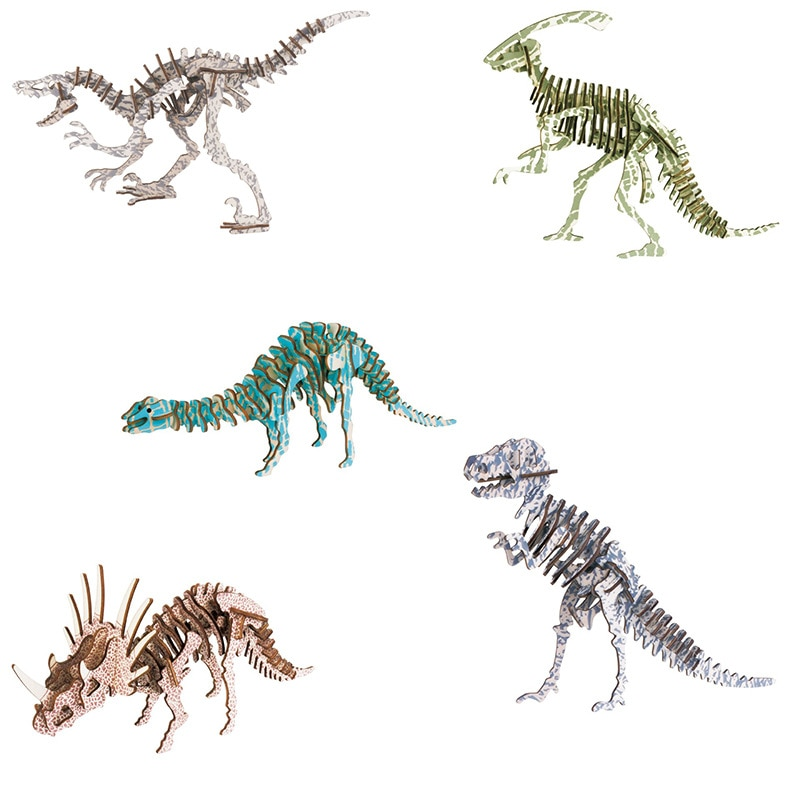 1Pcs Wooden Tyrannosaurus Rex Dinosaur Puzzle Model Toys DIY 3D Simulation Dinosaur Child Brain Game Toy